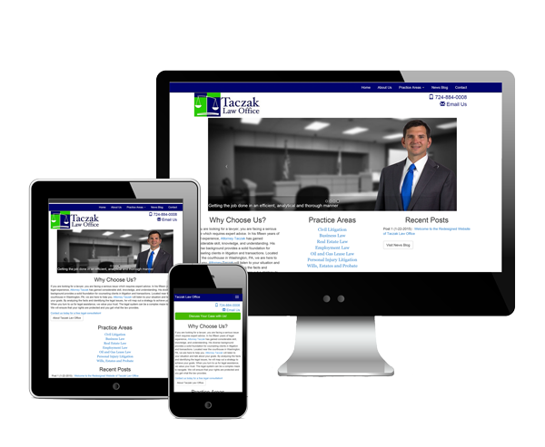 Taczak Law Office Website Design Information Picture