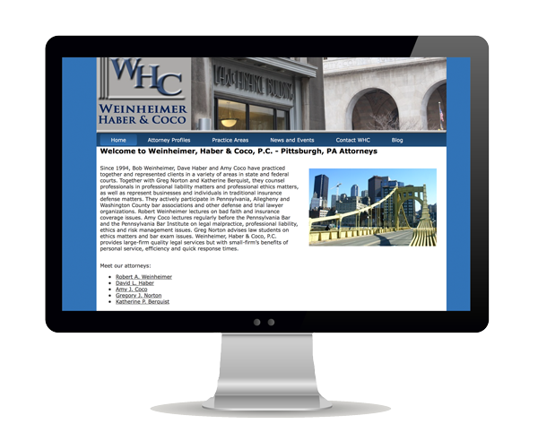 Weinheimer, Haber & Coco, P.C. Website Design Information Picture